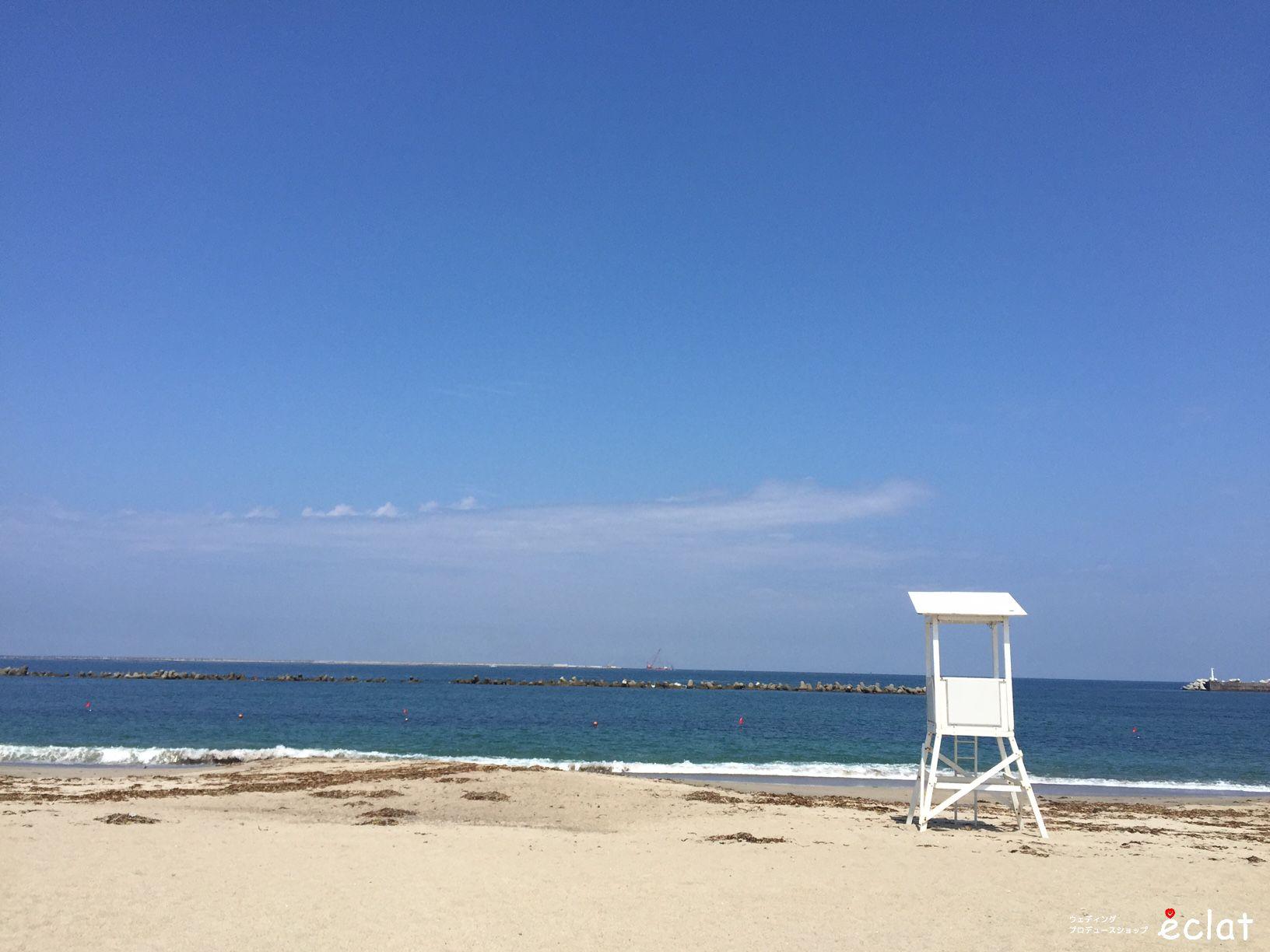 浜辺で結婚式 ビーチウエディング 海で結婚式 水戸 茨城 ウエディングプロデュースショップ エクラ eclat