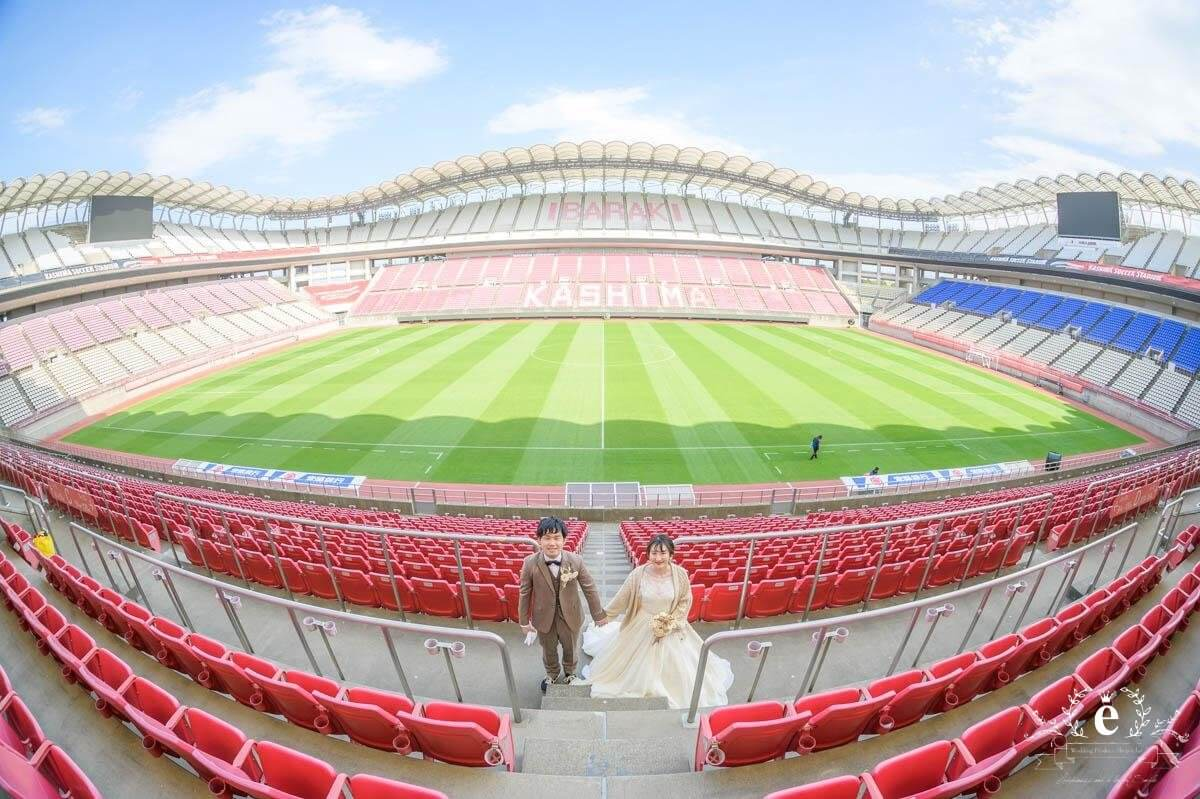 鹿嶋 カシマスタジアム 結婚式 サッカー ファン 貸し切り スタジアム 写真 フォト 水戸 エクラ スタジオエクラ