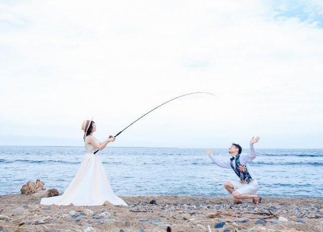 海でのお気に入りフォト 茨城県 フォトウェディング ウェディングフォト 洋装前撮り ロケーション撮影 エクラ スタジオ 記念日ハウス 水戸 結婚式 前撮り 後撮り